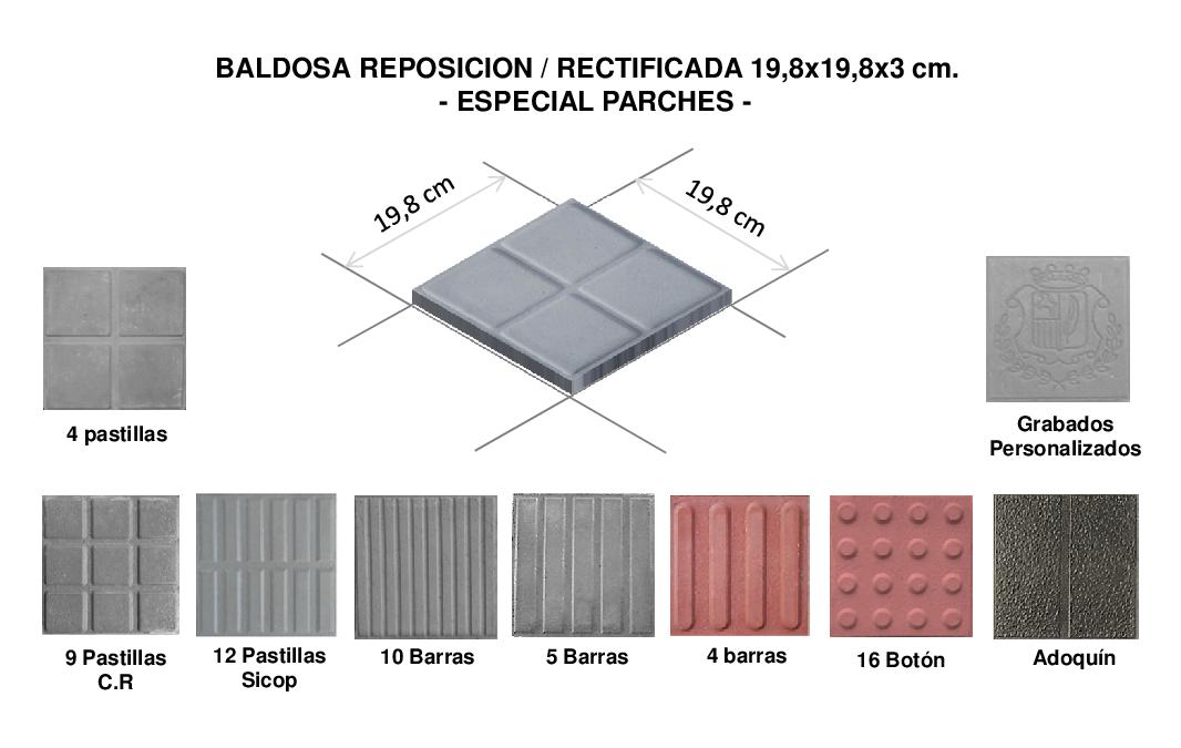 Baldosa reposici n rectificada tubosca for Medidas de baldosas